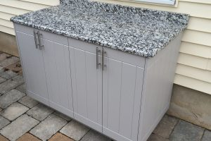 white outdoor cabinets close up 2