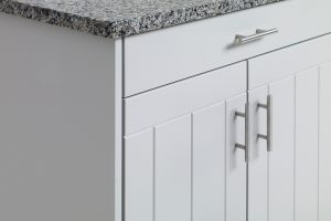 white outdoor cabinets close up